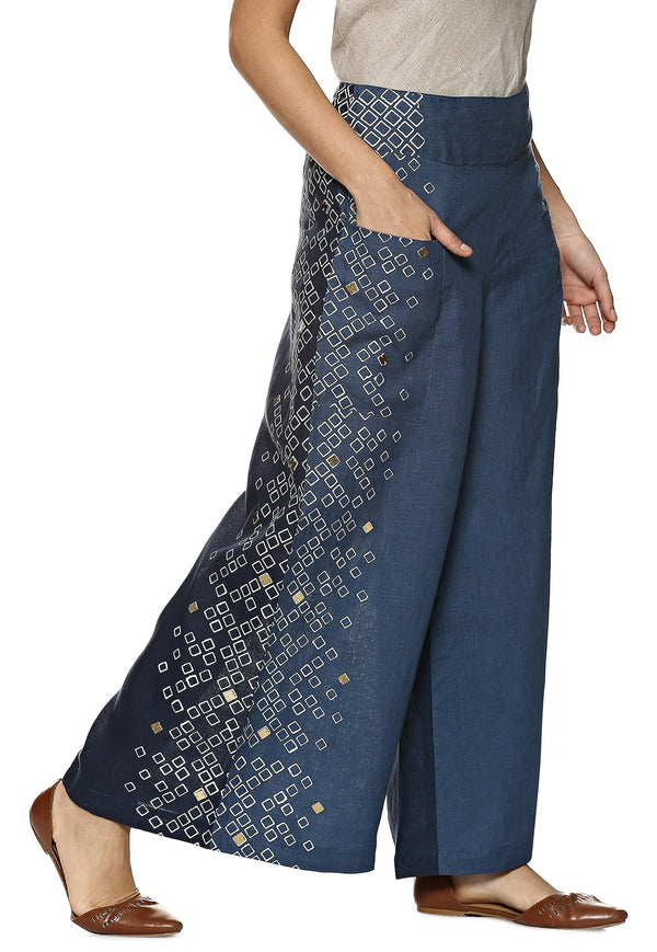 Out Of The Box Split Salsa Pant Denim - Navy-Pants-KAVERi