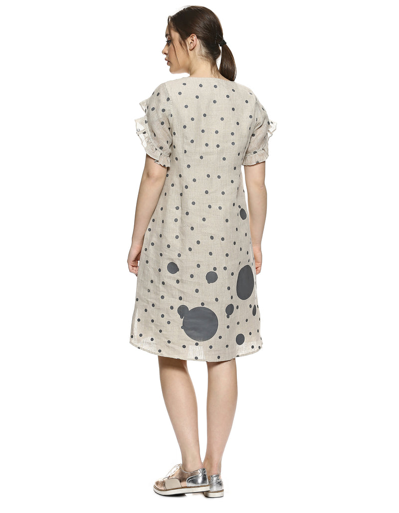 Do The Polka Pom Dress Natural-Dress-KAVERi