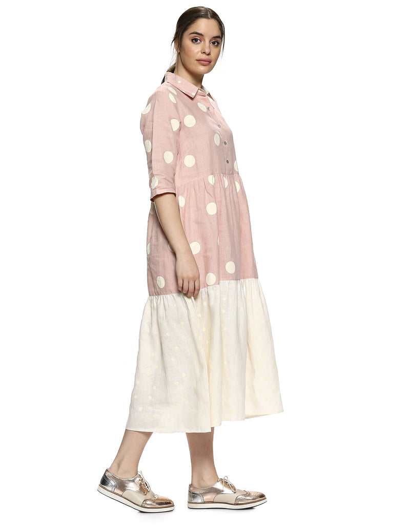Do The Polka Messenger Dress Dusty Rose-Dress-KAVERi