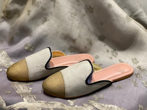 STYLISH STAPLES SLIP ON ROUND TOE JOOTHI - NATURAL-Footwear-KAVERi