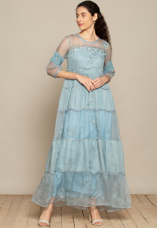 A Hint, A Shade, Long Dress- Sky Blue-Dresses-KAVERi