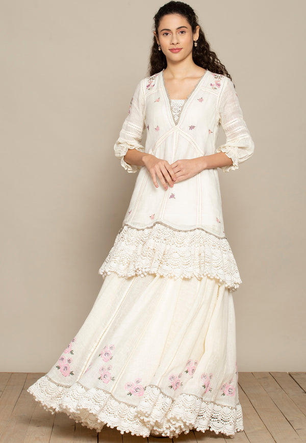 Bed of Roses Off-White Skirt-Skirts-KAVERi