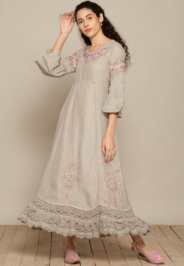A Million stitches, A galaxy of stars, Bed of roses long dress Natural-Dresses-KAVERi