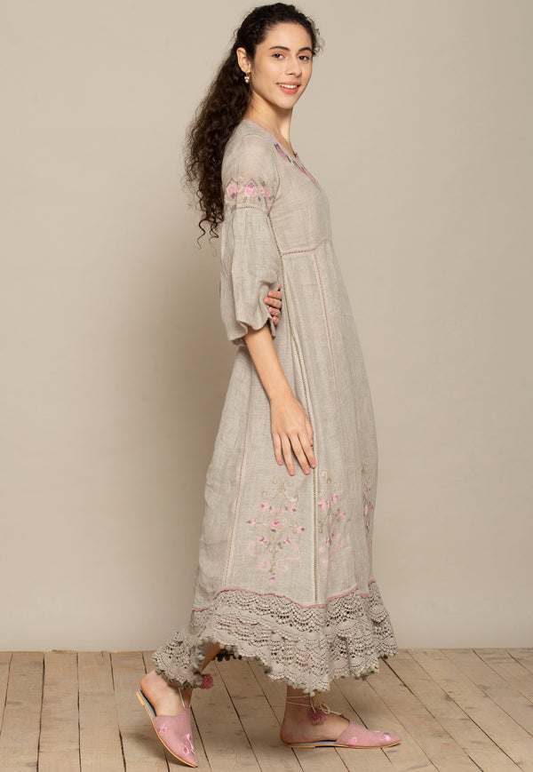 Bouquet Natural Long Dress-Dresses-KAVERi