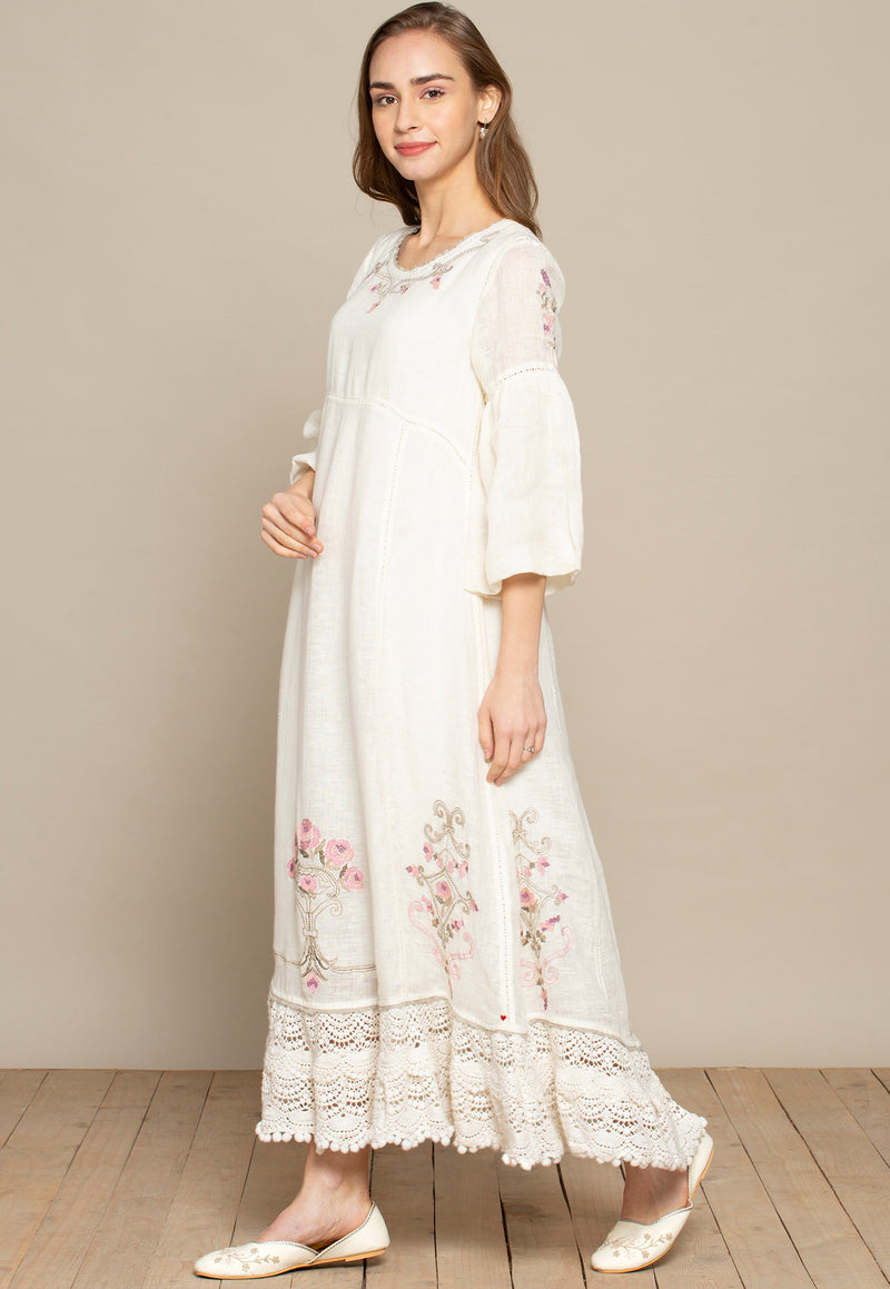 Million Stitches Bed of Roses Long Dress off-white-Dresses-KAVERi
