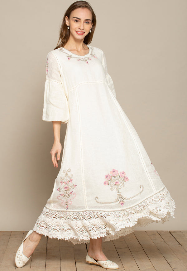 Bouquet Off-White Long Dress-Dresses-KAVERi