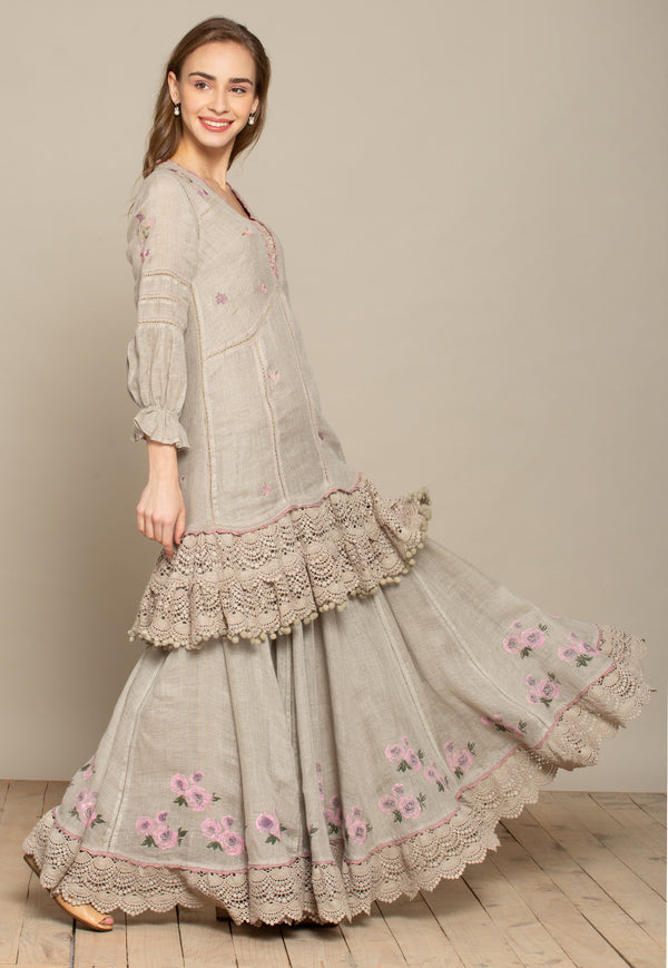 Million Stitches Bed of Roses Natural Skirt-Skirts-KAVERi