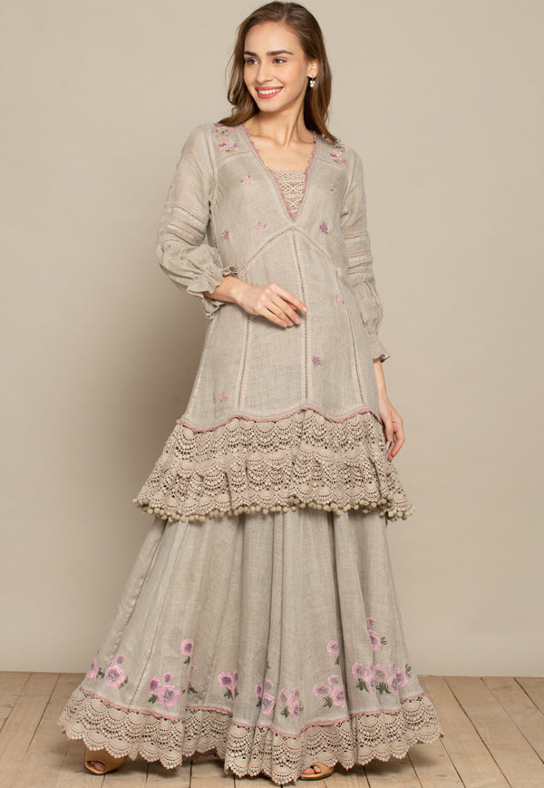Bed of Roses Natural Skirt-Skirts-KAVERi