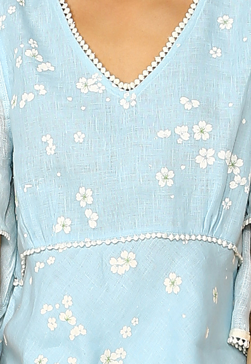 Baby's Breath Butterfly Top Powder Blue-Tops-KAVERi