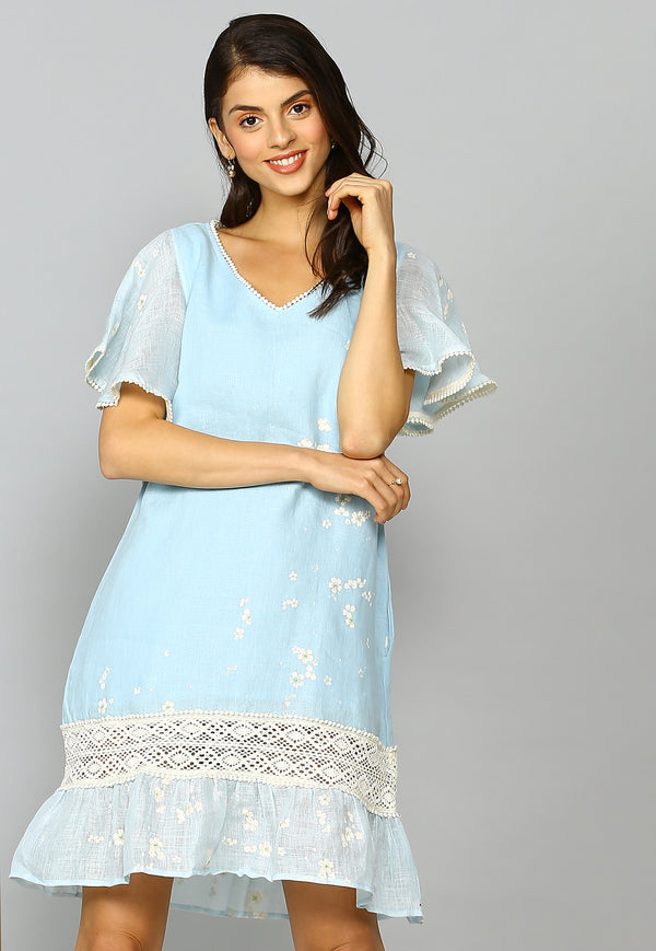Baby's Breath Powder Blue Moana Dress-Dresses-KAVERi