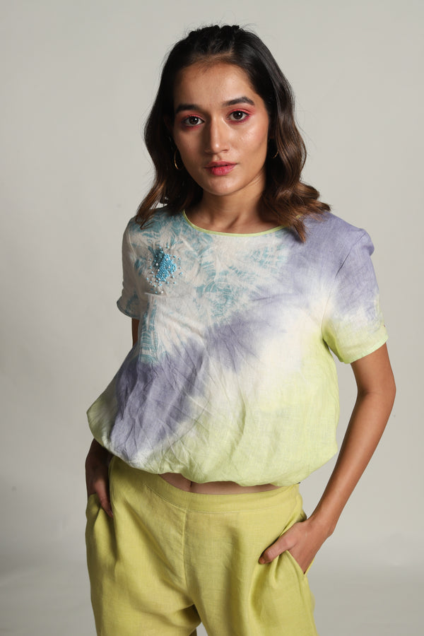 Sun Rises But Never Sets Circle Balloon Top Minty Cool-Tops-KAVERi