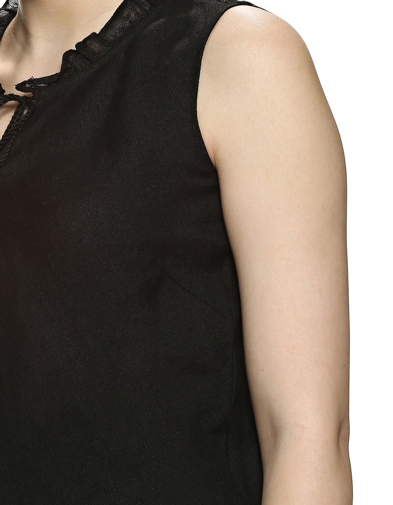 Stylish Staples Ruffle Shell Top Black-Top-KAVERi