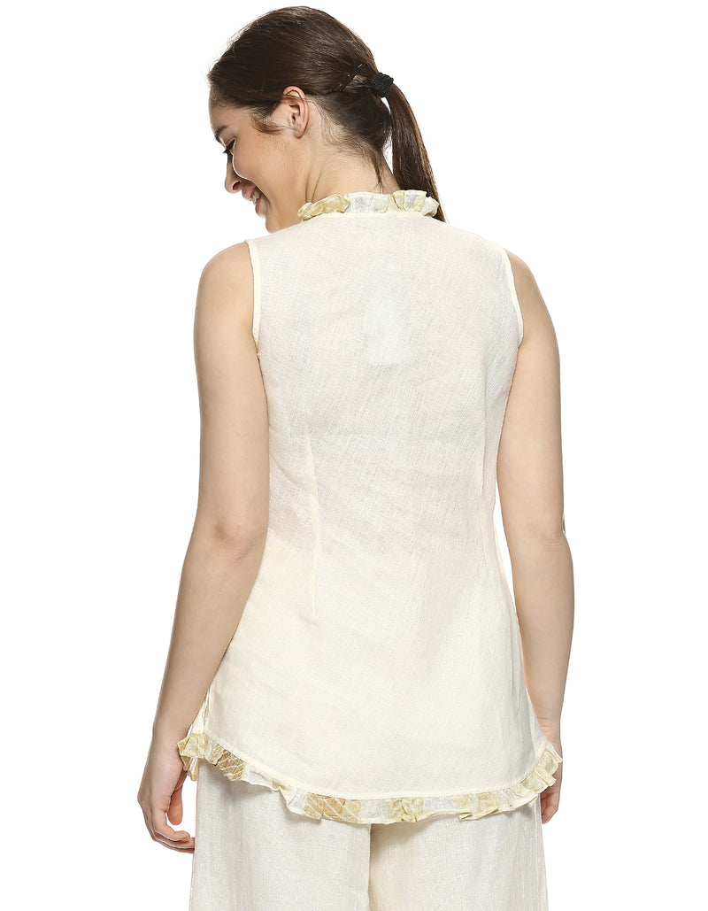 Stylish Staples Ruffle Shell Top Offwhite-Top-KAVERi