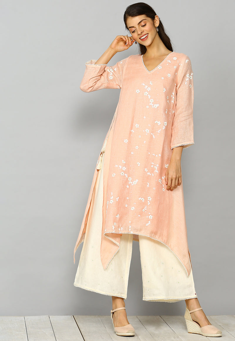 Baby's Breath Fly Free Tunic Set Dusty Rose-Kurta Set-KAVERi