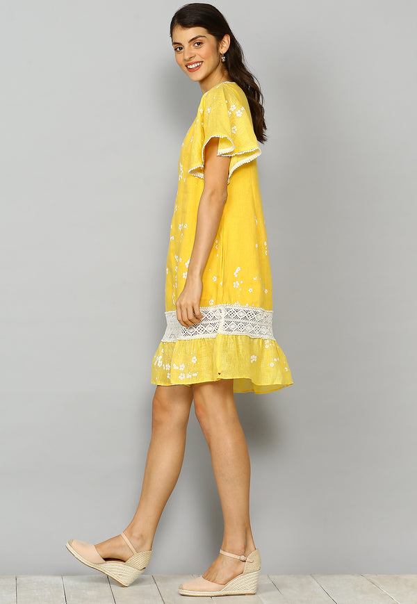 Baby's Breath Mona Dress Yellow-Dresses-KAVERi