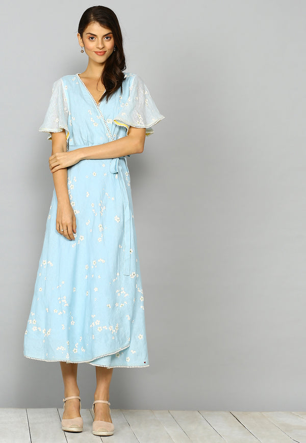 Baby's Breath Poppy Dress Powder Blue-Dresses-KAVERi