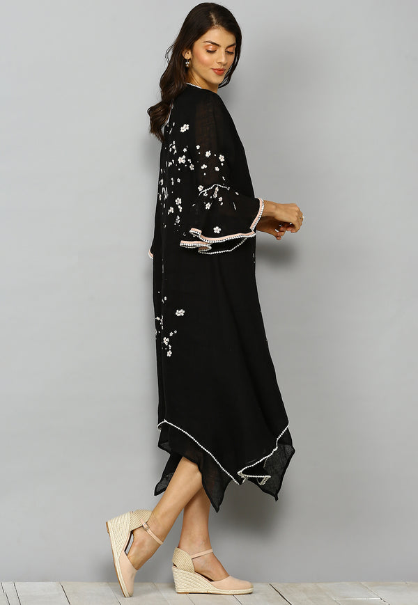 Baby's Breath Two Layered Dress Black-Dresses-Kaveri