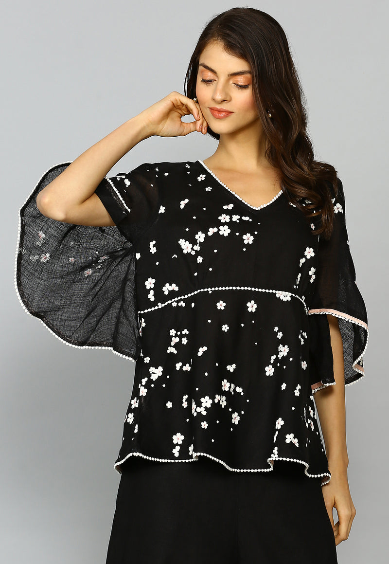 Baby's Breath Butterfly Top Black-Tops-KAVERi