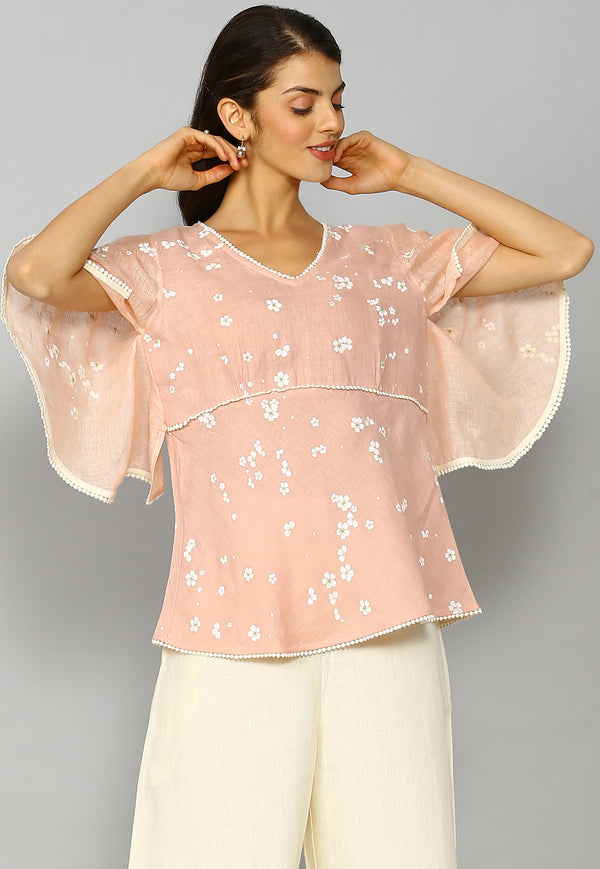 Baby's Breath Butterfly Top Dusty Rose-Tops-KAVERi