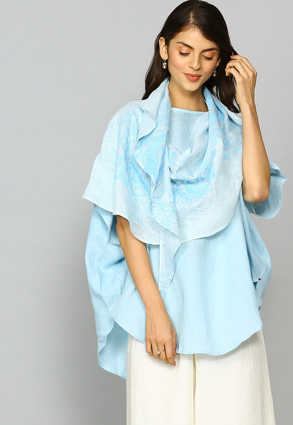 Crescent Soul Croissant Top Powder Blue-Tops-Kaveri