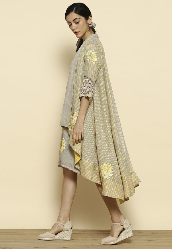 Chyrsanthemum Natural/Yellow Wrap Jacket Dress-Dresses-KAVERi