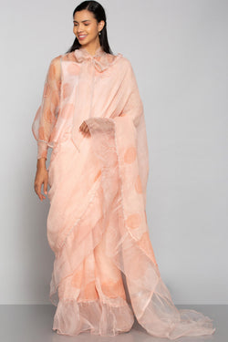 Circles in the Sand Saree Dusty Rose-Sarees-KAVERi