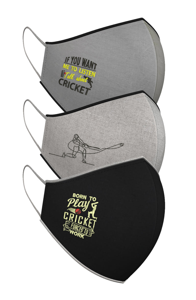 TALK CRICKET TO ME. | Set of 3-Masks-KAVERi