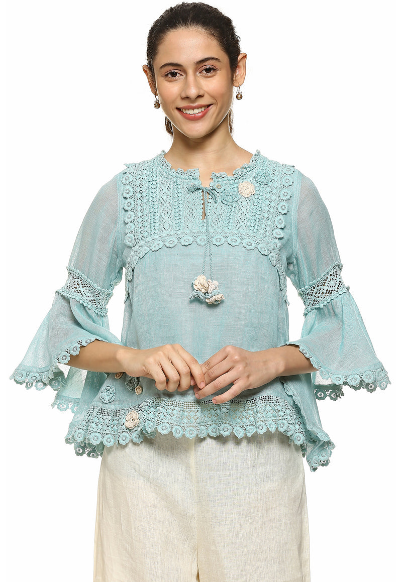 Blush Dream Love Cloud Blue Edith Top-Tops-KAVERi