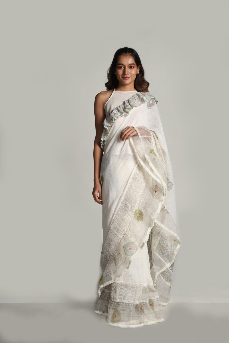 Echo Saree Off-White-Sarees-KAVERi