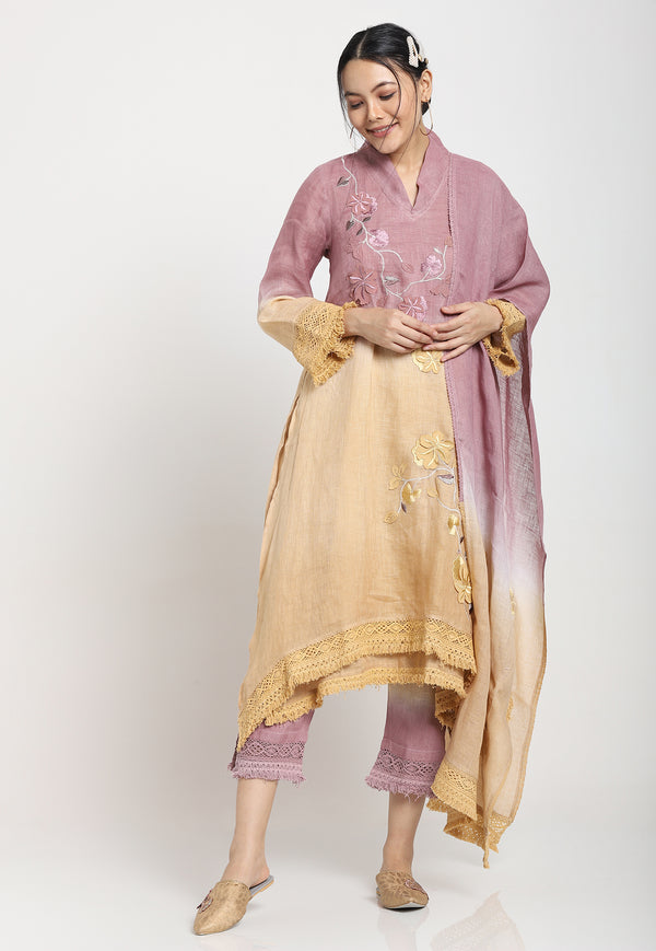 FLY FREE TUNIC+PANTS - BAN BERRY-Kurta Set-KAVERi