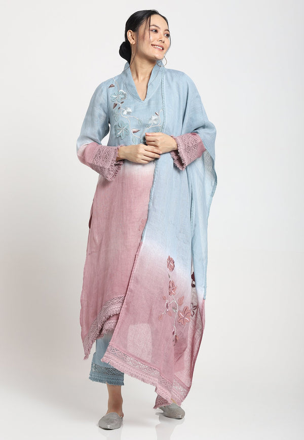 FLY FREE TUNIC+PANTS+SCARF - ROSE SERENIE-Kurta Set-KAVERi