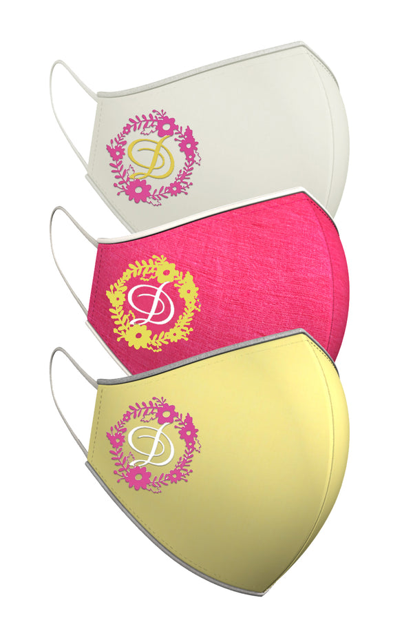FLORAL MONOGRAM | Set of 3-Masks-KAVERi