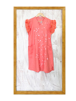 Flower Burst Cuccinelli Dress- Salmon-Dress-KAVERi