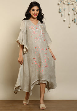 Hanami Two Layered Dress Natural-Dresses-KAVERi