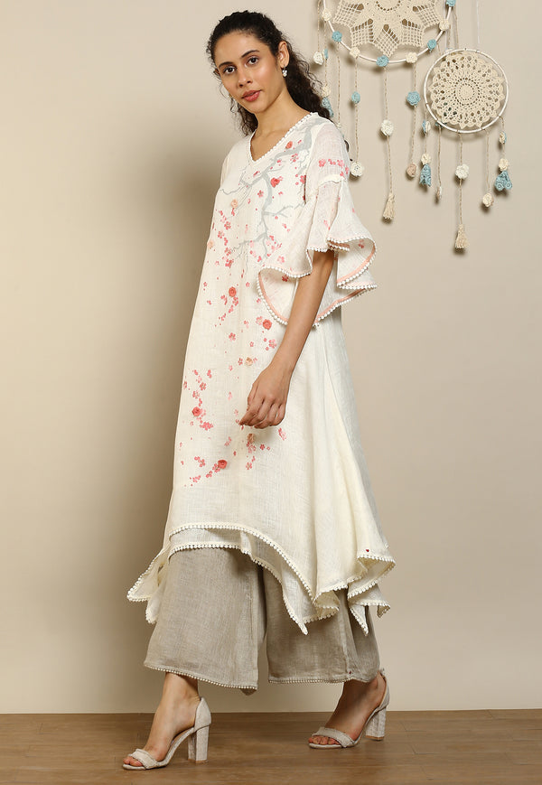 Hanami Two Layered Dress Off White-Dresses-KAVERi