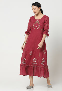 PARCHINKARI IZZUNISA DRESS WINE-Dress-KAVERi