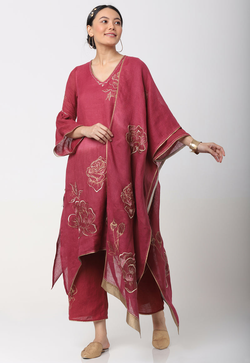 JAMAL FLY FREE TUNIC + SCARF + PANTS - RUBY-Kurta Set-KAVERi
