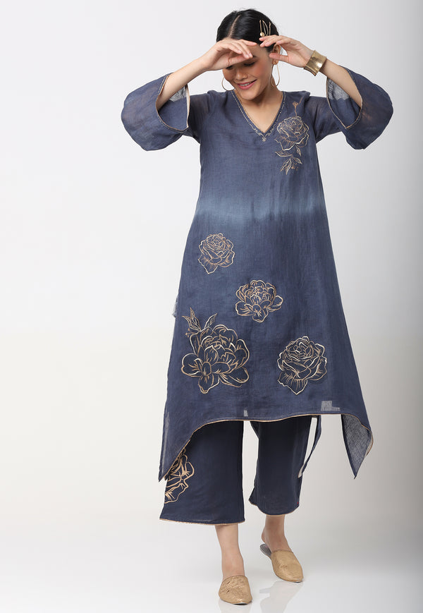 DAMASK ROSE JAMAL FLY FREE TUNIC SET SAPPHIRE-Kurta Set-KAVERi