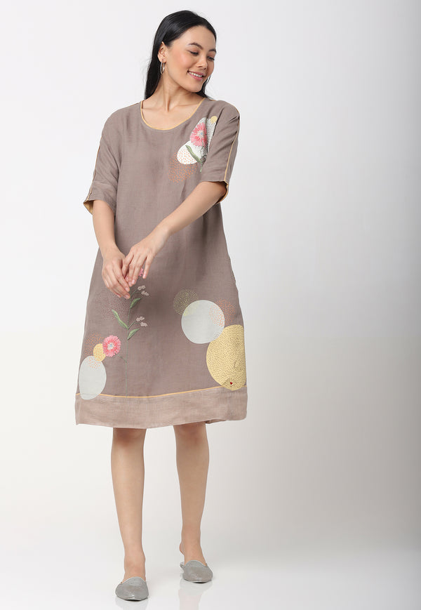 EVERYTHING STARTS FROM A DOT JANE DRESS CEMENT-Dress-KAVERi
