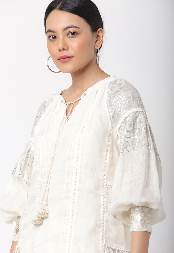 LATTICE SHIMMER JHAROKA TOP OFF WHITE-Top-KAVERi