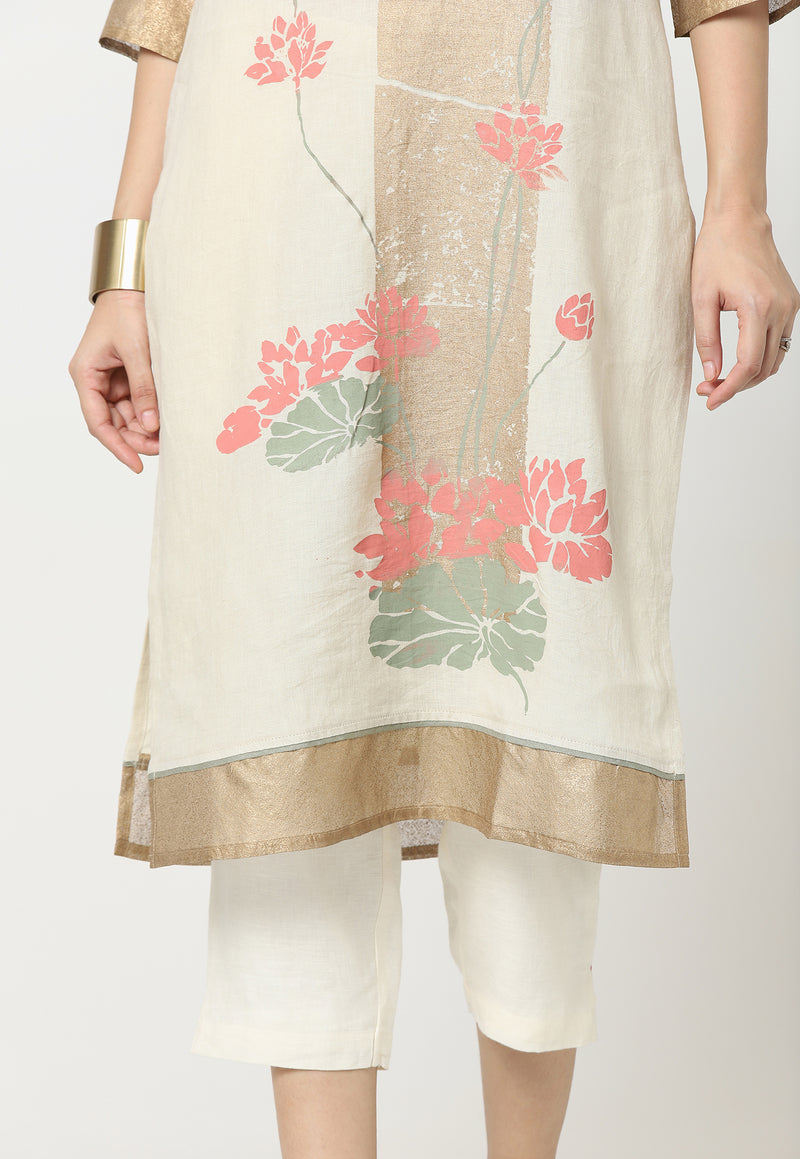 LOTUS TARA KURTA OFF WHITE-Tunic-KAVERi