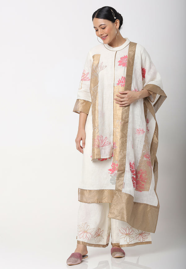 LOTUS UNFOLD KAMAL KURTA + PANTS + SCARF OFF-WHITE-Kurta Set-KAVERi