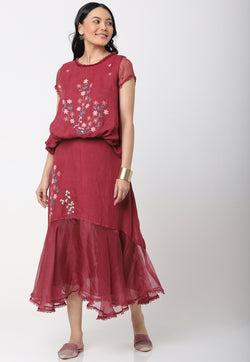 LIFE IS A MEADOW KELLY TOP AND NATASHA SKIRT WINE-Top and Skirt-KAVERi