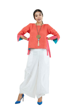 Pant and Top White and Tomato-Co-Ords-KAVERi