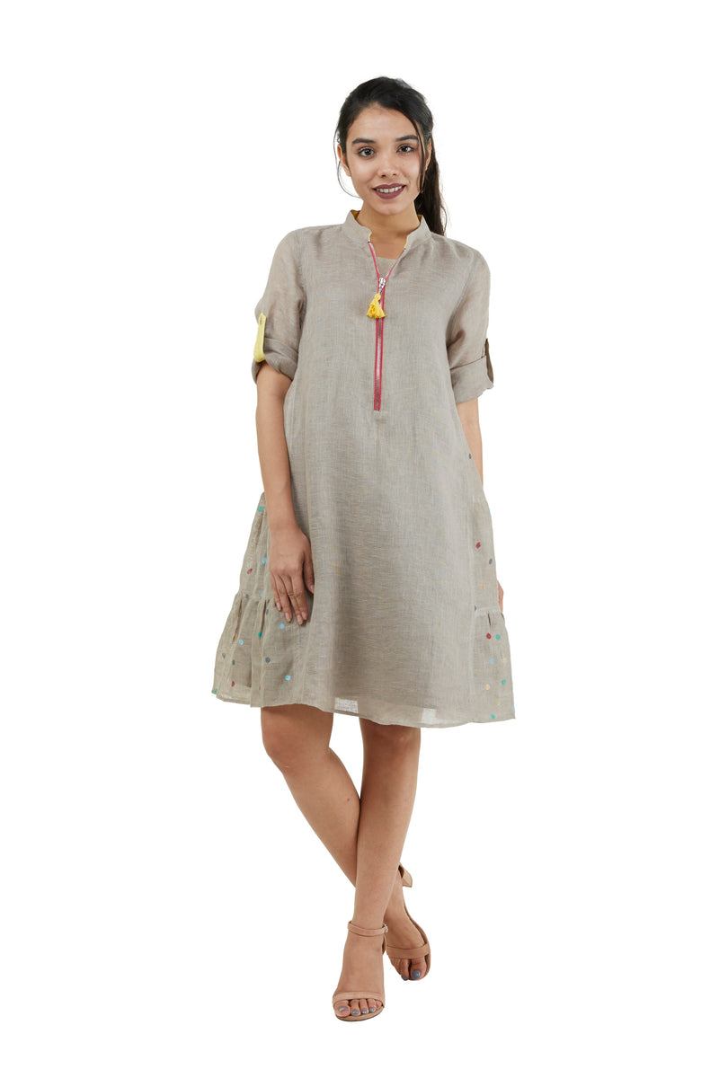 Dot the Map New York Dress Cement-Dress-KAVERi