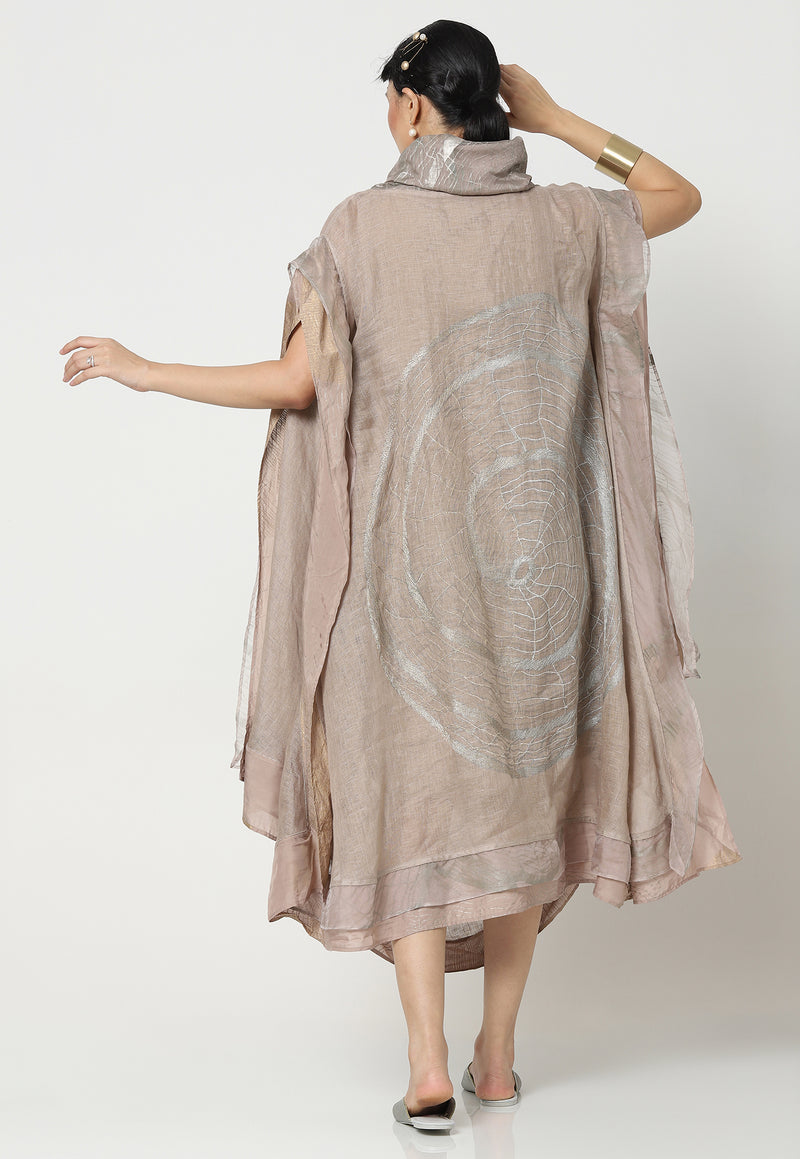 COCOON LATTICE DRAPE DRAPE DRESS CEMENT-Dress-KAVERi
