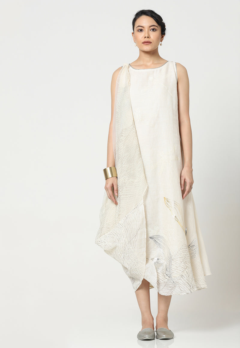 COCOON LAYERED TWIRL DRESS OFF WHITE-Dress-KAVERi