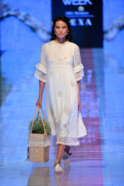 Amanda Off- White Dress-Dresses-KAVERi