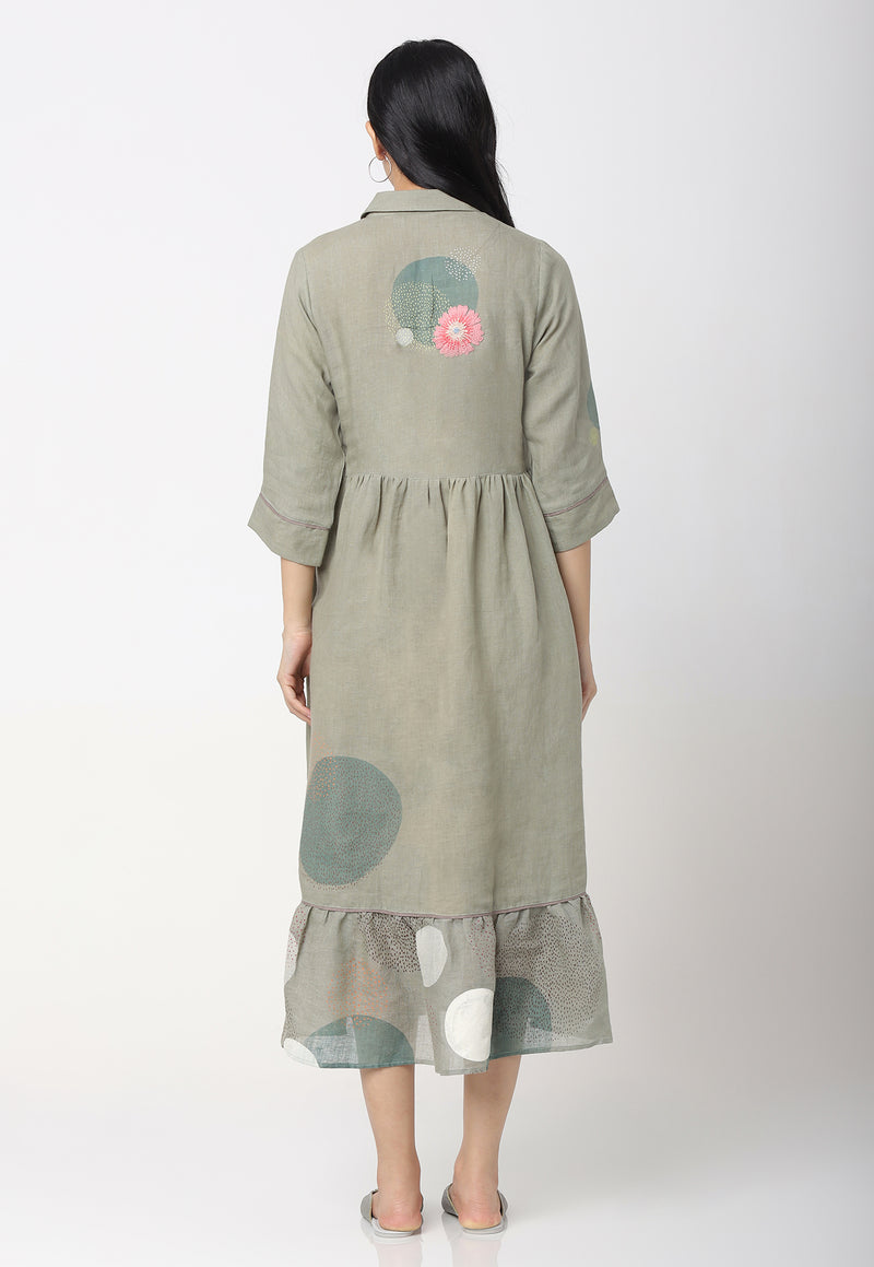 EVERYTHING STARTS FROM A DOT MESSENGER DRESS SAGE-Dress-KAVERi