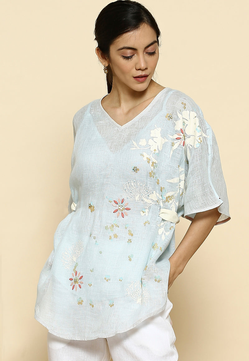 Mid Night Garden Croissant Powder Blue Top-Tops-KAVERi